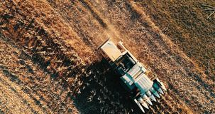 Aerial footage of harvester collecting harvest, harvesting the fields stock video