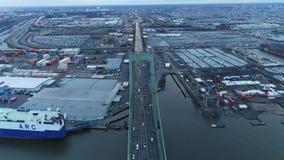 Aerial Footage Heading West over Walt Whitman Bridge stock video