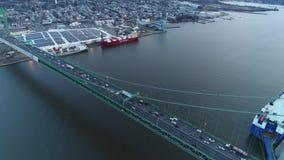 Aerial Footage Heading West over Walt Whitman Bridge stock footage