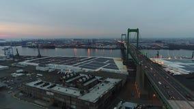 Aerial Footage Heading West over Walt Whitman Bridge. Towards Philadelphia PA stock video footage