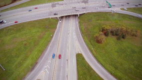 Aerial Footage of Highway and Overpass with cars and trucks stock footage