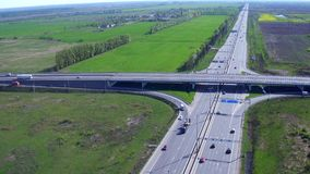 Aerial Footage of Highway and Overpass Urban Life with cars and trucks.  stock video