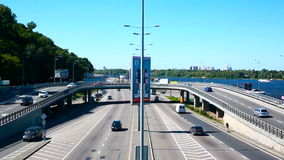 Aerial Footage of Highway and Overpass Urban Life with cars and trucks. Hd stock footage
