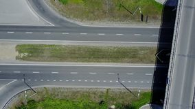 Aerial Footage of Highway and Overpass Urban Life with cars and trucks stock video