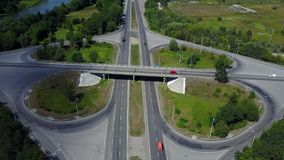 Aerial Footage of Highway and Overpass Urban Life with cars and trucks stock footage