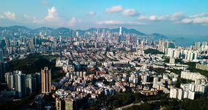 Aerial footage of Hong Kong island from the Lion rock stock video