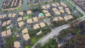 Aerial footage of a hosing community stock footage