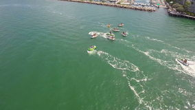Aerial footage of a jetski tour in the Florida Keys stock footage