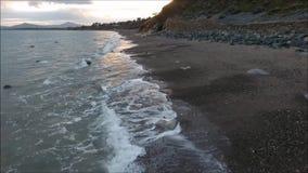 Aerial footage. Killiney beach. Dublin. Ireland stock footage