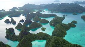 Aerial Footage of Lagoon and Islands in Wayag, Raja Ampat. Rugged limestone islands, surrounded by coral reefs, are found in an idyllic, tropical lagoon in Wayag stock video footage