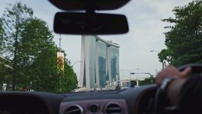 Landmark view of Singapore from the car window. Aerial footage landmark view of Singapore from the car window stock video footage