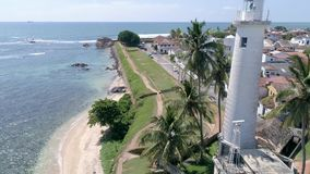 Beautiful Sri Lankan City Tropical Island Aerial 4k. Aerial footage of a lantern in Galle, Sri Lanka. Slowmotion footage in 4k stock video footage