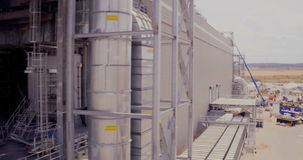 Aerial footage of a large construction site stock footage