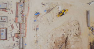 Aerial footage of a large construction site stock video