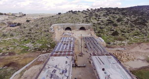 Aerial footage of a large highway construction site stock video