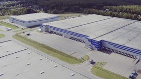 Aerial view of the logistics warehouse stock video