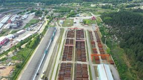 Aerial footage of a large industrial complex for Assembly and storage of metal. Railway access roads stock video