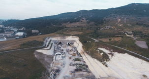 Aerial footage of a large scale highway construction project stock footage