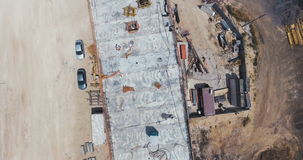 Aerial footage of a large scale highway construction project stock video footage