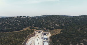 Aerial footage of a large scale highway construction project stock video