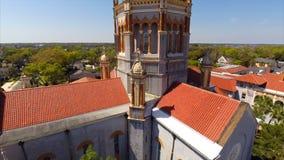 Aerial footage Memorial Presbyterian Church at St Augustine Florida