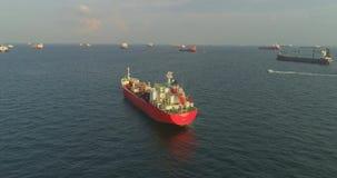 Merchant ship anchored. Aerial footage Merchant ship anchored stock video footage