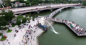 Aerial footage of Merlion monument and bay in Singapore city stock video