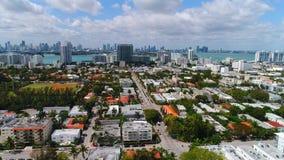 Aerial footage of Miami Beach condominiums stock video footage