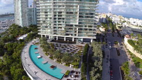 Aerial footage of Miami Beach stock footage