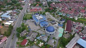 Aerial footage of a mosque. Aerial footage of Sultan Ismail Petra mosque in the center of Kubang Kerian town located in Kota Bharu,Kelantan,Malaysia stock video