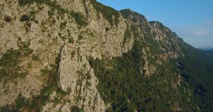 Aerial footage of Mountain Nanos above Vipava valley covered with forest stock video