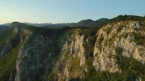 Aerial footage of Mountain range Gora plateau above Vipava valley in Slovenia central Europe.  stock footage