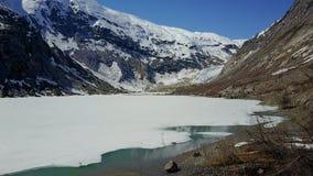Aerial footage of Nigardsbreen glacier in Norway stock video footage