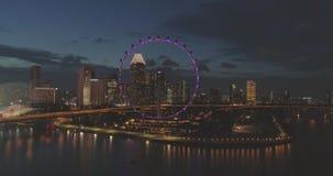 Night view of Singapore. Aerial footage Night view of Singapore stock video footage