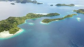 Aerial footage of Pef Islands in Raja Ampat. The remote and healthy coral reefs found around the islands of Pef, Raja Ampat, Indonesia, are surrounded by calm stock video
