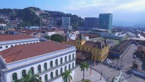 Aerial Footage Pele Soccer Player of the museum in the city of Santos - Sao Paulo - Brazil . July, 2016. stock video