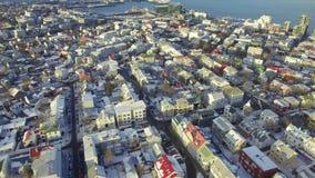 Aerial footage of Reykjavik stock video footage