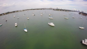 Aerial footage of sail boats in the bay Royalty Free Stock Photography