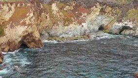 Aerial Footage of Scenic, Rugged Northern California Coastline stock footage
