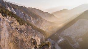 Morning Cliff Canyon Rheinschlucht Switzerland Aerial 4k