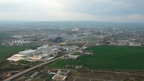 Industrial and petrochemical industry in Ploiesti, Romania. Aerial footage showing the industrial area in the east side of Ploiesti City, Romania and stock video