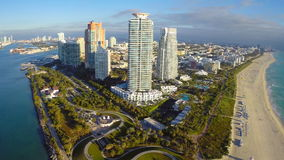 Aerial footage of South Beach Florida Stock Image