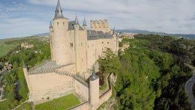 Aerial footage The spanish castle Alcazar of Segovia, in Castilla and Leon stock footage