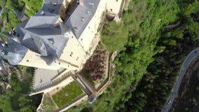 Aerial footage The spanish castle Alcazar of Segovia, in Castilla and Leon stock video footage