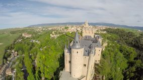 Aerial footage The spanish castle Alcazar of Segovia, in Castilla and Leon stock footage