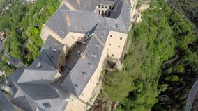 Aerial footage The spanish castle Alcazar of Segovia, in Castilla and Leon stock video