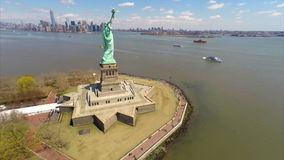 Aerial footage of Statue of Liberty Royalty Free Stock Image