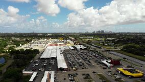Aerial footage swap shop flea and farmers market Sunrise Florida USA