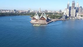 Aerial footage of Sydney Harbour and Circular Quay stock video