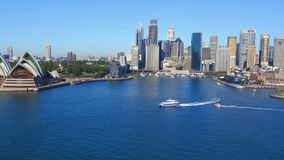 Aerial footage of Sydney Harbour and Circular Quay stock footage